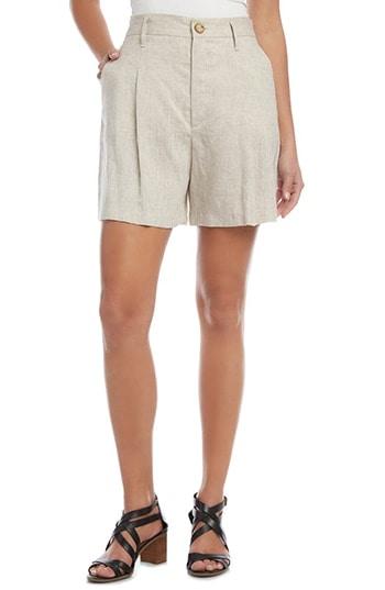 Karen Kane High Waist Pleated Linen Shorts | 40plusstyle.com