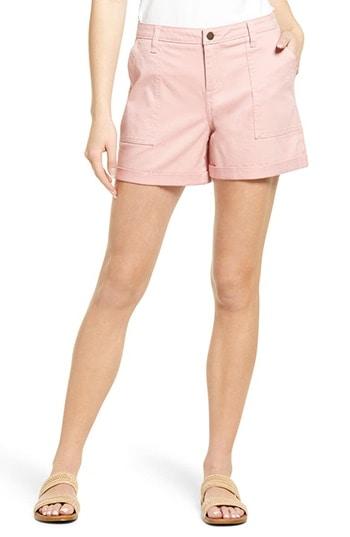 Caslon Rolled Cuff Twill Shorts | 40plusstyle.com