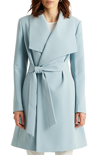Nordstrom half yearly sale - Lauren Ralph Lauren Belted Drape Front Coat | 40plusstyle.com