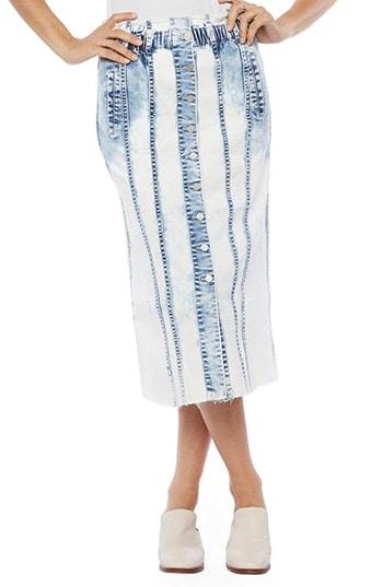 WASH LAB gather button front denim skirt | 40plusstyle.com