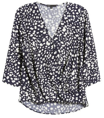 tops to hide your tummy - Gibson surplice blouse | 40plusstyle.com