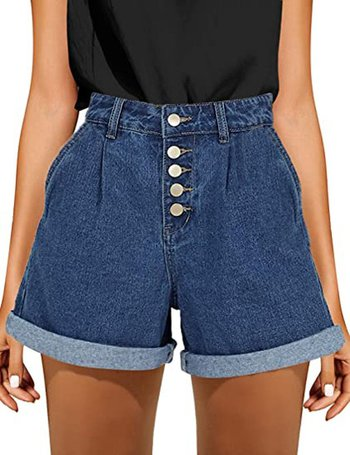 GRAPENT high waist cuff denim shorts | 40plusstyle.com