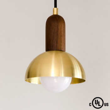 walnut and brass dome pendant light