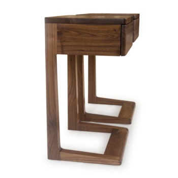 walnut nightstands with cantilever design, allows easy access to storage drawers