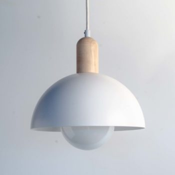 10 inch hemisphere pendent light, shown with white shade, maple top, and white cord