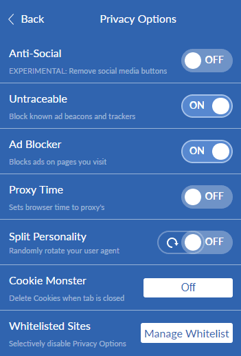 Windscribe extension settings