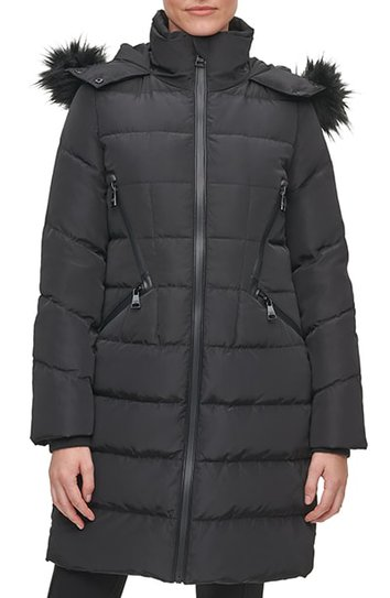 Karl Lagerfield Paris water resistant down & feather parka with faux fur trim | 40plusstyle.com