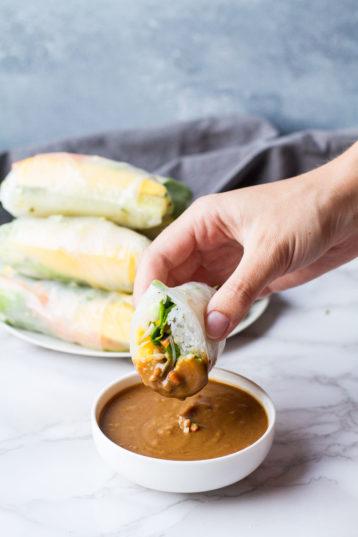 Vietnamese Summer Rolls with Mango + Peanut Sauce