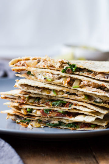 Spinach Mushroom Quesadilla with Caramelized Onions