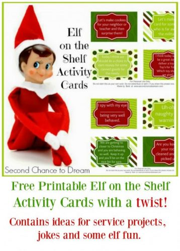 Second Chance to Dream: Printable Elf on the Shelf Activity Cards with a twist! #ElfontheShelf #Christmas #service