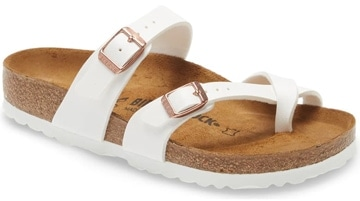 Shoes for wide feet - Birkenstock 'Mayari Birko-Flor' sandal | 40plusstyle.com