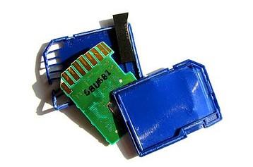 A damaged memory card.