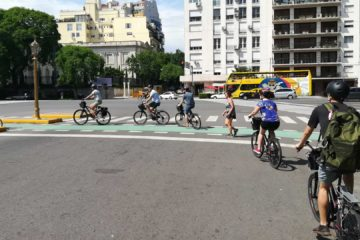 Group following Bike Tour Leader Gilda in Recoleta