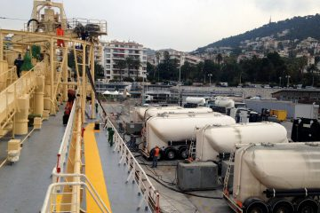 Cement carrier at the port of Nice