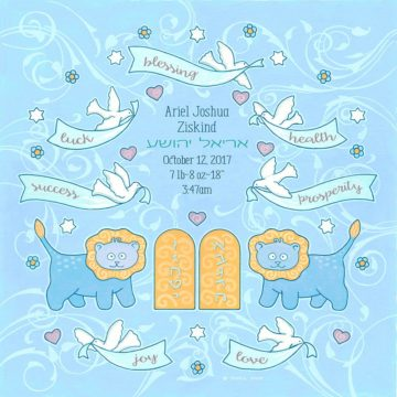 Baby Boy Lion Blessings Bluish Baby Wall Art G-BB-16b by Mickie Caspi