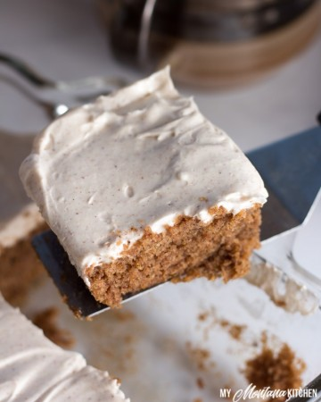Cinnamon Spice Cake is delicious, especially when you top it with cinnamon cream cheese frosting. This low carb spice cake recipe without applesauce is delicious in fall and throughout the holidays...or any time. This recipe also works as a Trim Healthy Mama S Dessert Recipe. #lowcarbspicecake #lowcarb #sugarfree #glutenfree #cinnamon #lowcarbcinnamon #healthycake #trimhealthymama #thms #thmdessertrecipe #thmspicecake