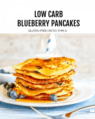 low carb blueberry pancakes featured image