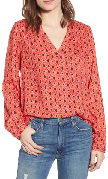 printed red top | 40plusstyle.com