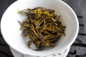 Tea leaves after initial rinse