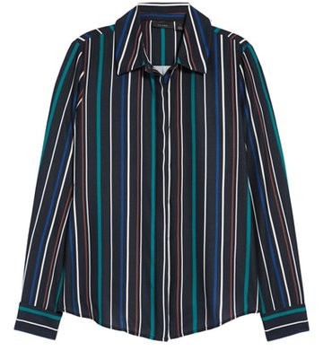 stripes are flattering when you are short or petite - Halogen stripe shirt | 40plusstyle.com