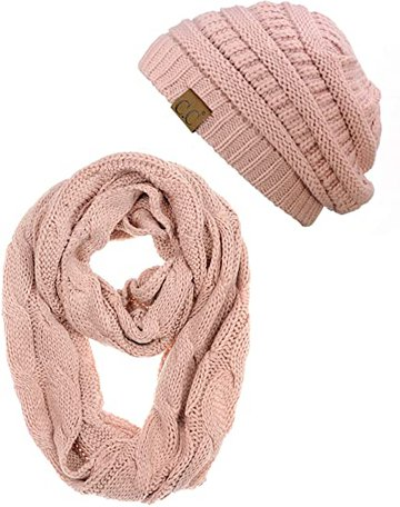 C.C beanie and scarf set | 40plusstyle.com
