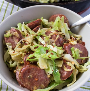 Cheesy Sausage and Cabbage Skillet (Low Carb, Keto, THM-S) #trimhealthymama #thm #thms #lowcarb #keto #easydinner #lowcarbdinner #thmdinner #glutenfree #cabbage #sausage