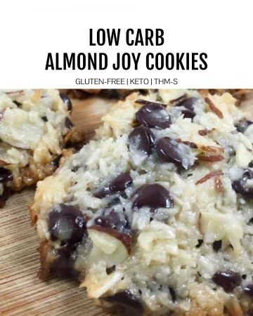 low carb almond joy cookie on spatula