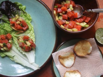 Salmon Poke with Chayote on Cassava Chips