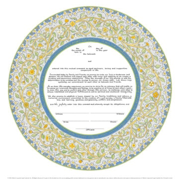 12-2 Joy & Happiness Ketubah by Mickie Caspi, Secular Humanist Jewish Wedding Text