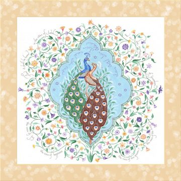 Peacocks Love Fine Art Print Wall Art GOLD