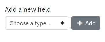 Screenshot of the field type select form