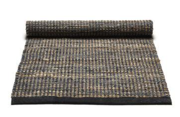 grafitowo beżowy dywan z juty i skóry z recyklingu - Graphite 0027