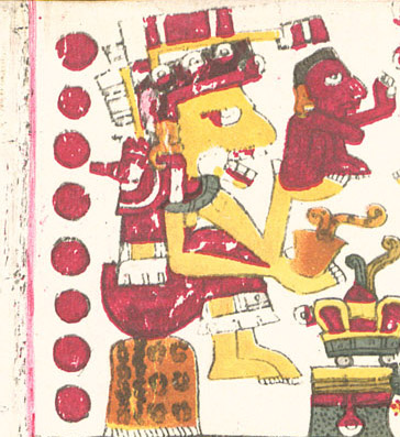 Ancient Aztec pictograph of yellow death-goddess Mictecacihuatl is sitting on throne-like seat holding small red man in her hands