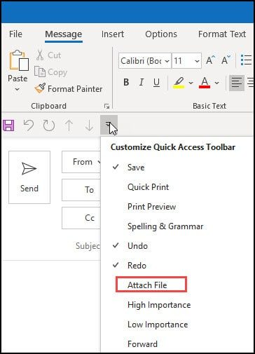 Quick Access menu shoing Attach File is not enabled.