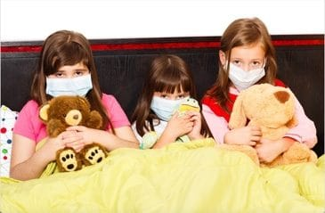 children wearing masks due to indoor air pollution