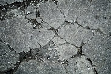 radon from old cracked concrete