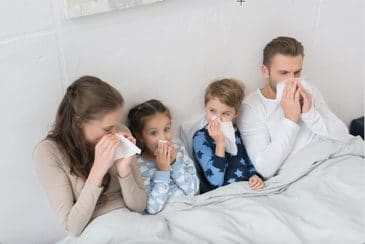 family suffering from air pollution at home