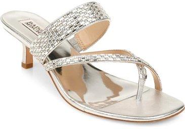 Badgley Mischka Collection 'Zena' embellished slide sandal | 40plusstyle.com