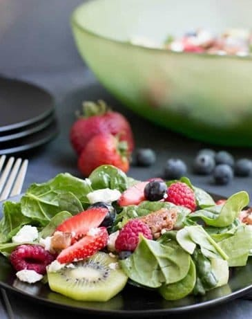 Kiwi Berry Spinach Salad with Honey Poppy Seed Dressing