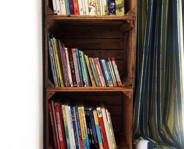 Crate bookcase for kids bedroom