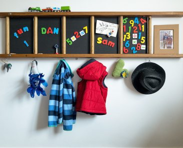 Wooden ladder magnetic board with hooks