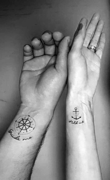 anchor-and-ship-wheel-couple-tattoo-matching-designs