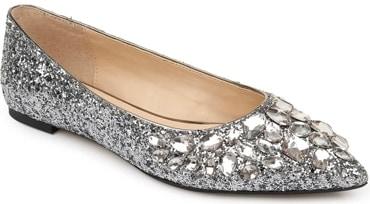 Jewel Badgley Mischka 'Ulanni' embellished glitter flat   40plusstyle.com