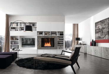 wall media unit with bio alcohol burning fireplace