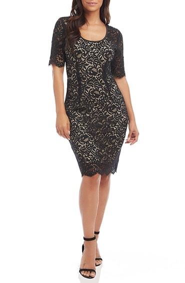 Karen Kane lace sheath dress | 40plusstyle.com