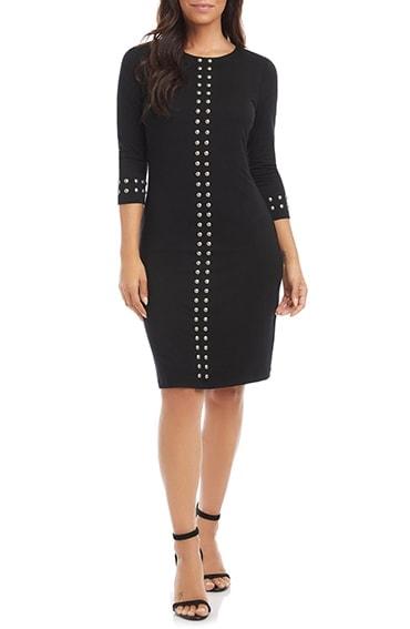 Karen Kane studded sheath dress | 40plusstyle.com