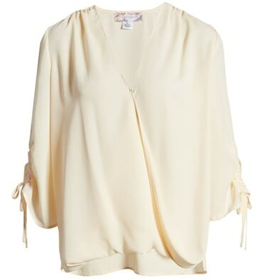 tops to hide your belly - Band of Gypsies ruched sleeve top | 40plusstyle.com