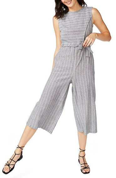 Court & Rowe Pinstripe Crop Jumpsuit   40plusstyle.com
