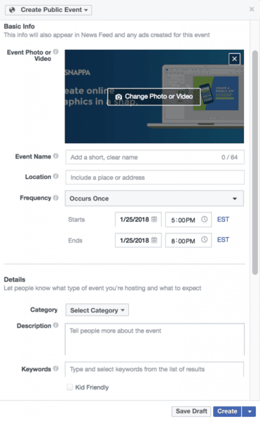 how to create a facebook event for business