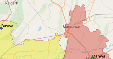 Map of Mandawar city in Dausa District, Rajasthan